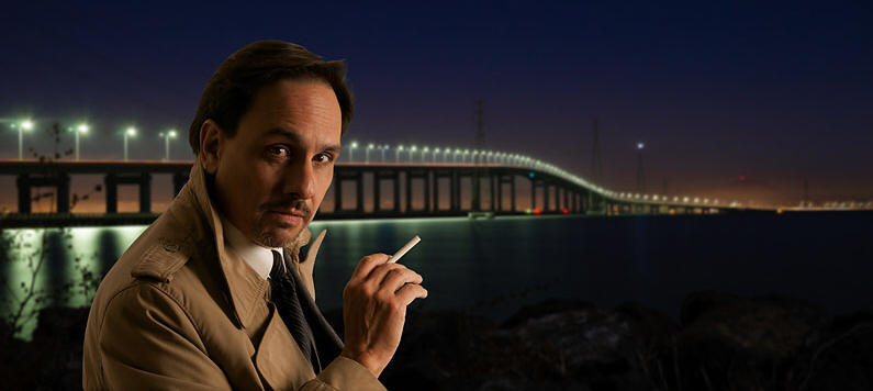 spy,night,city,bridge,evening,trenchcoat,spy,spying,cigarette,wireless flash, green screen,softbox,