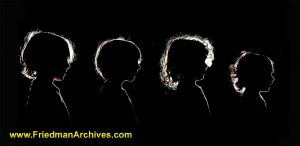 4 Kids Silhouettes Portraits