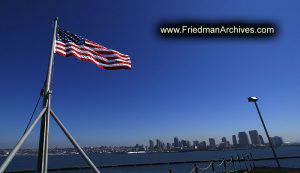 American Flag and Coast
