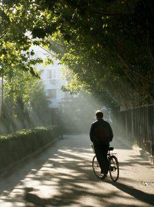 A cyclist at 6:00 AM.