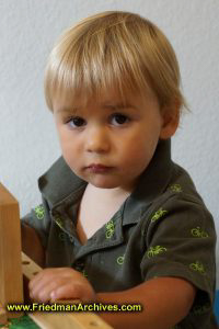 Boy at Train Table