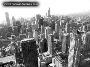 Chicago Skyline Daytime BW