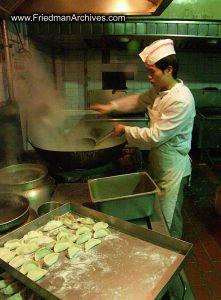 Cooking Dumplings in kitchen
