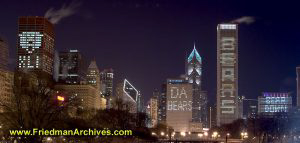 Go Bears - Chicago Skyline during Super Bowl