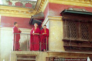 Nepal Images - Monks on Balcony