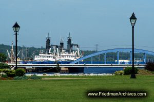 Bridge, Ships, and Lampposts