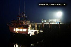 Docked Boat at Night