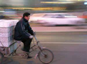 Delivery bike at dusk.