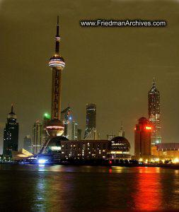 Shanghai Skyline Lights Off