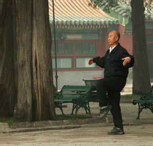 Tai Chi in a park.