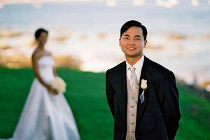 Wedding Sampler Groom with Bride in Background
