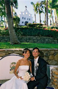 Wedding Sampler Portrait in front of Chapel