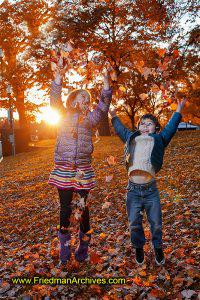 fall autumn playing children,orange